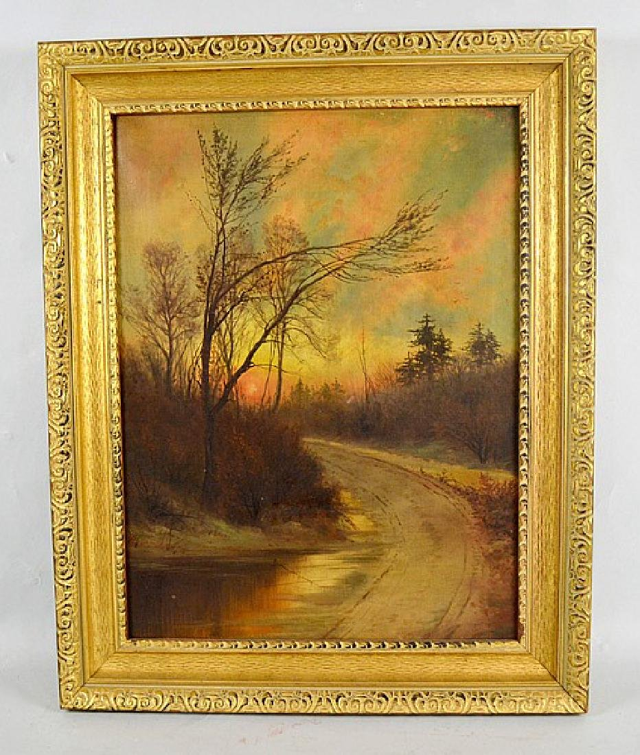 OIL ON CANVAS ''COUNTRY ROAD AT DUSK'' - Landscape; Oil