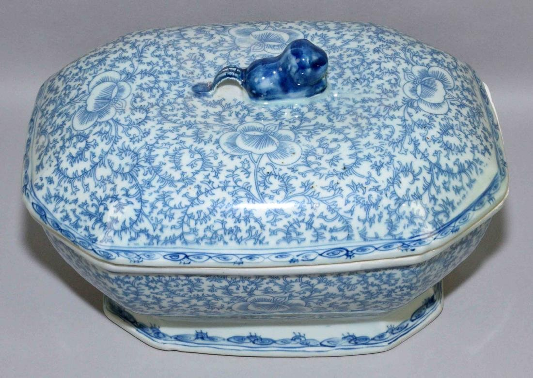 (2) ANTIQUE CHINESE PORCELAIN BLUE AND WHITE PIECES: - 2