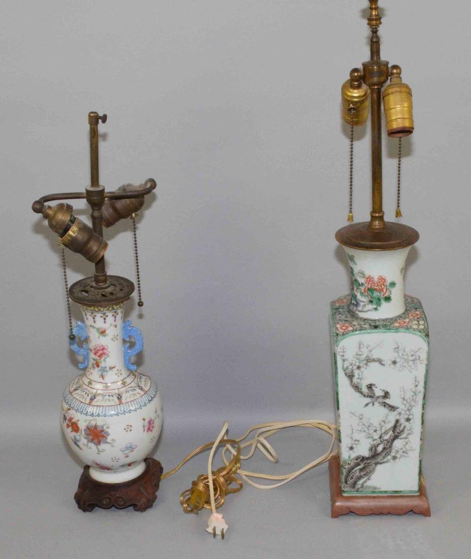 (2) ANTIQUE CHINESE FAMILLE ROSE PORCELAIN LAMPS. (1)
