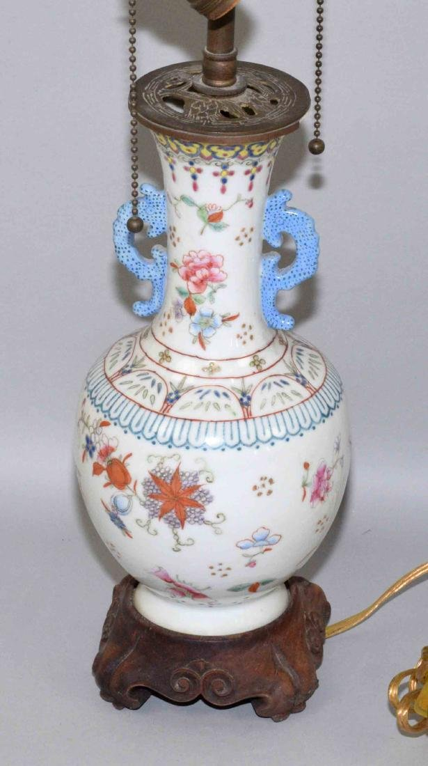 (2) ANTIQUE CHINESE FAMILLE ROSE PORCELAIN LAMPS. (1) - 2