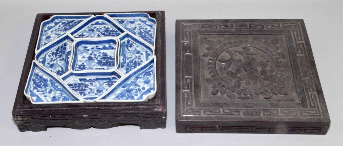 ANTIQUE CHINESE LIDDED LACQUER BOX W/BLUE AND WHITE