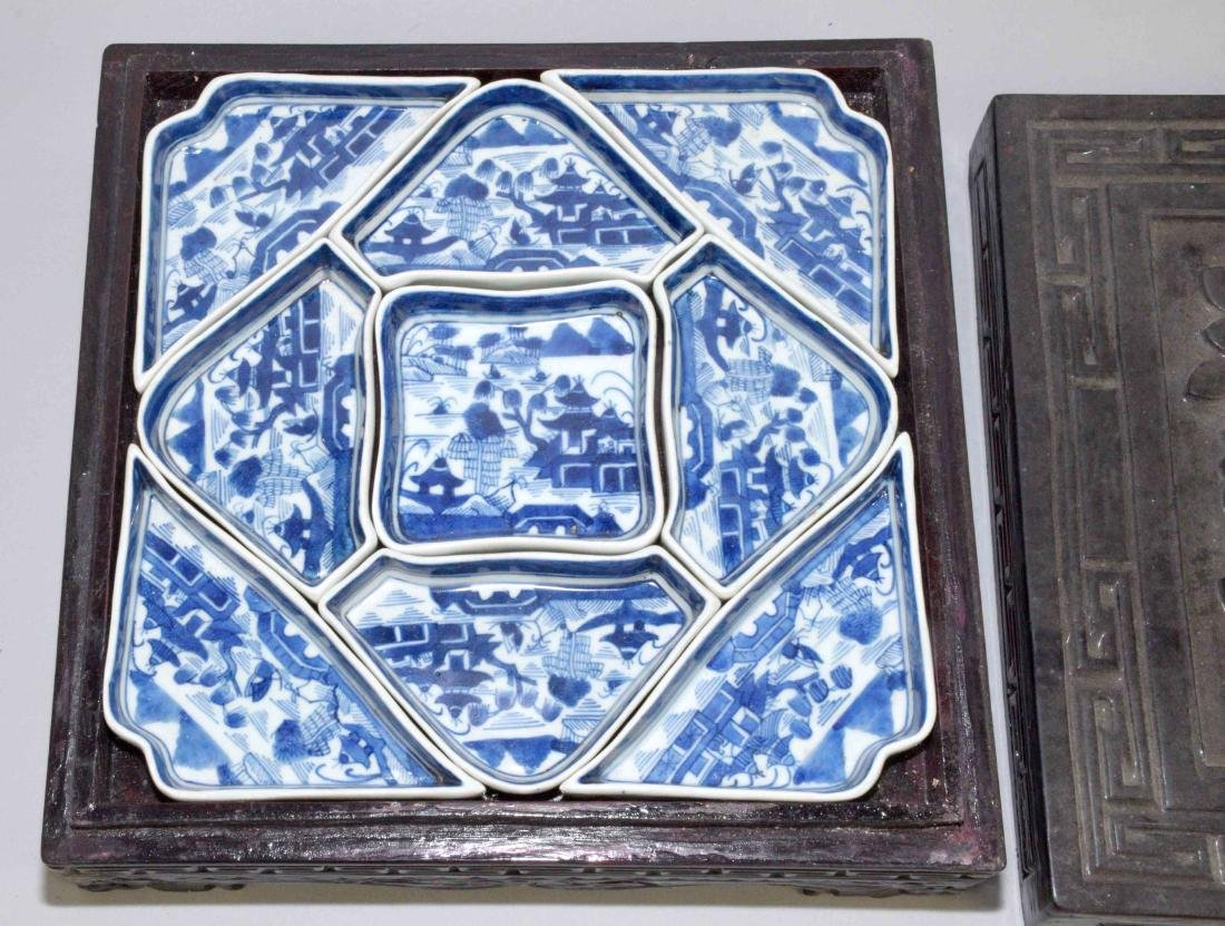 ANTIQUE CHINESE LIDDED LACQUER BOX W/BLUE AND WHITE - 2