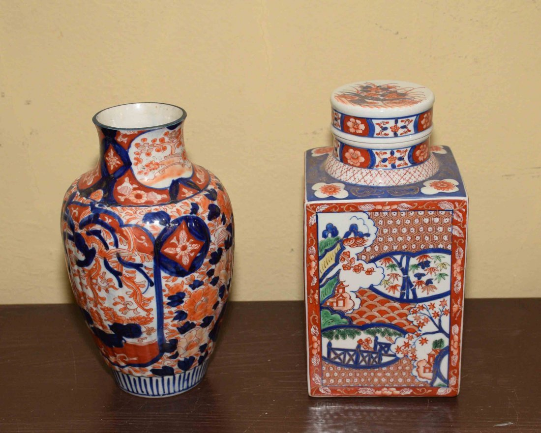 (2) ANTIQUE JAPANESE IMARI VASES, includes square