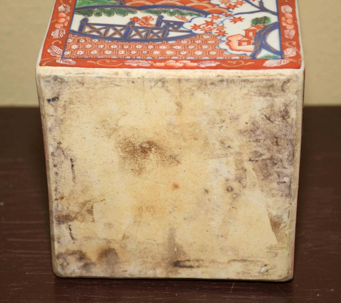 (2) ANTIQUE JAPANESE IMARI VASES, includes square - 7