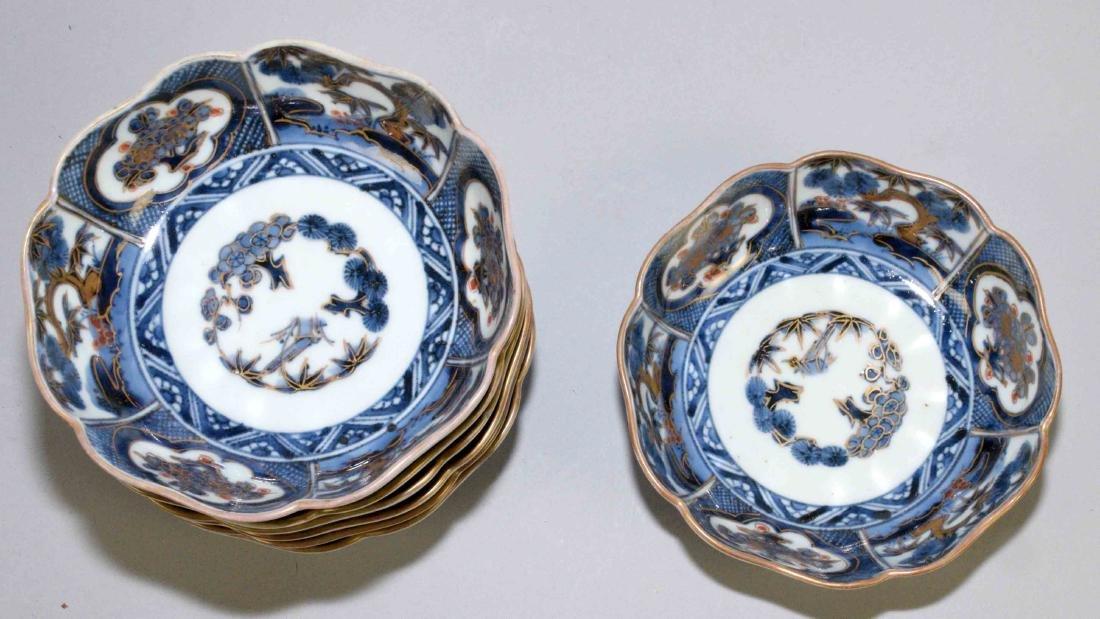 (2) ANTIQUE JAPANESE IMARI W/BLUE & WHITE DISHES. - 8