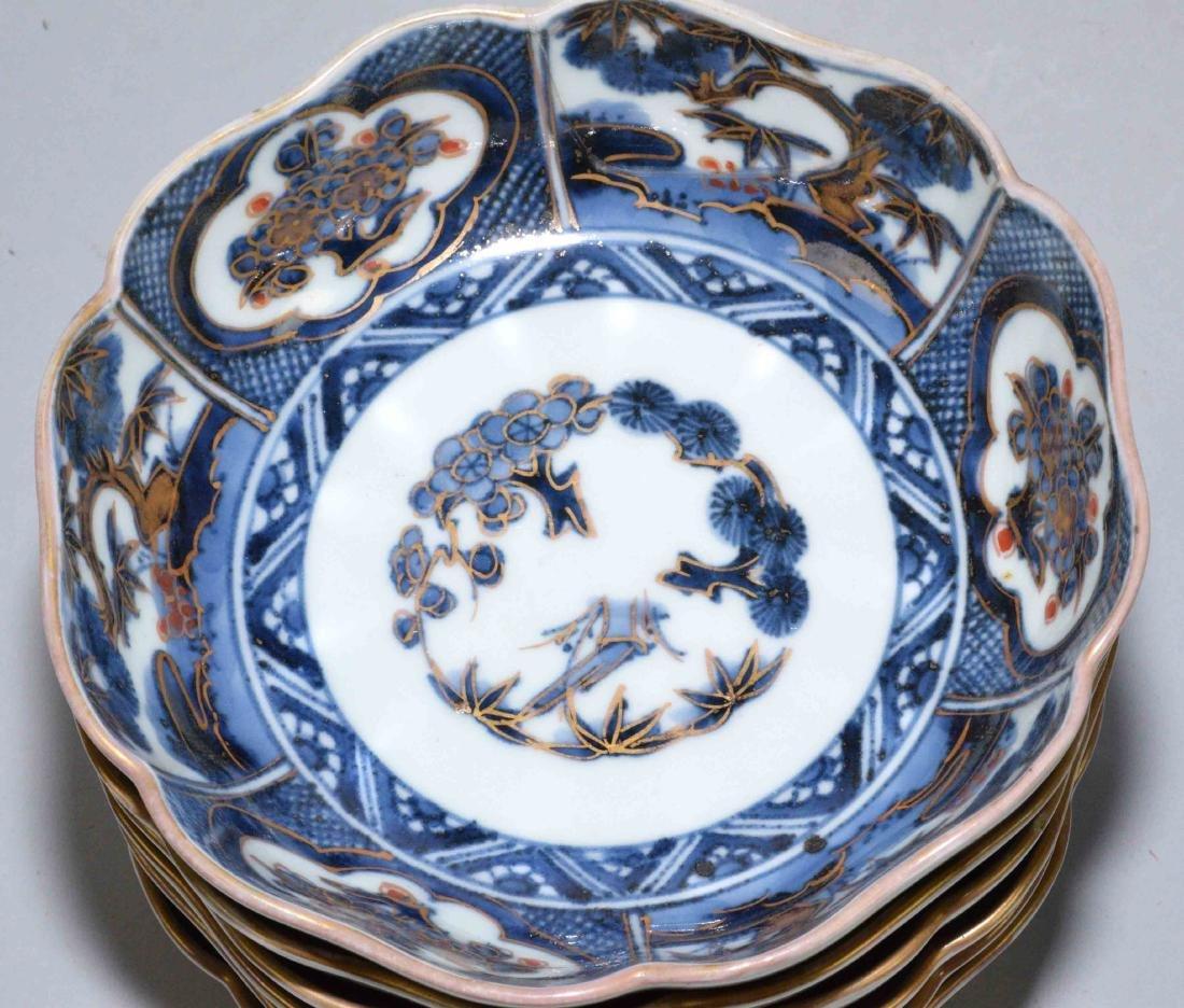 (2) ANTIQUE JAPANESE IMARI W/BLUE & WHITE DISHES. - 9