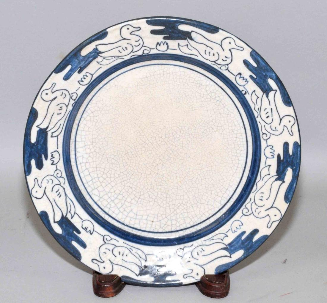 DEDHAM POTTERY PLATE WITH DUCK MOTIF. 8.5'' diameter,