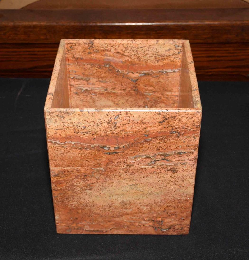 TRAVERTINE MARBLE WASTE BASKET. 9''H x 8''W x 8''D.