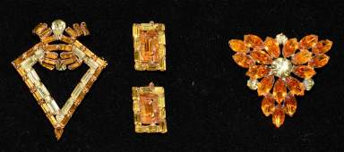 3 PC VINTAGE AMBER AND YELLOW RHINESTONE GOLDTONE