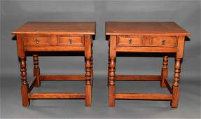 PAIR OF ONE DRAWER END TABLES labeled Leopold Stickley