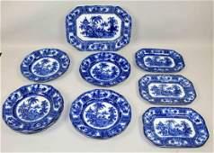GROUP OF FLOW BLUE ENGLISH KYBER PORCELAIN including