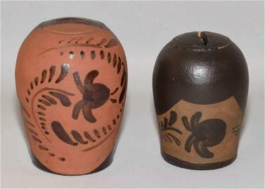 COLLECTION OF TANWARE. (2) pieces, both banks. Largest: