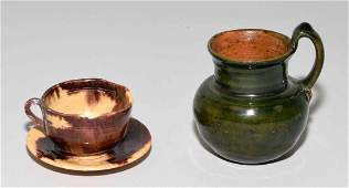 ANTIQUE MINIATURES, cup and saucer and pitcher.