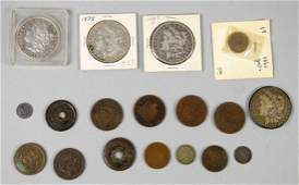 COLLECTION OF US TYPE COINS 4 morgan dollars 1863