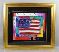 PETER MAX, MIXED MEDIA  AND ACRYLIC, ''Heart of Flag'',
