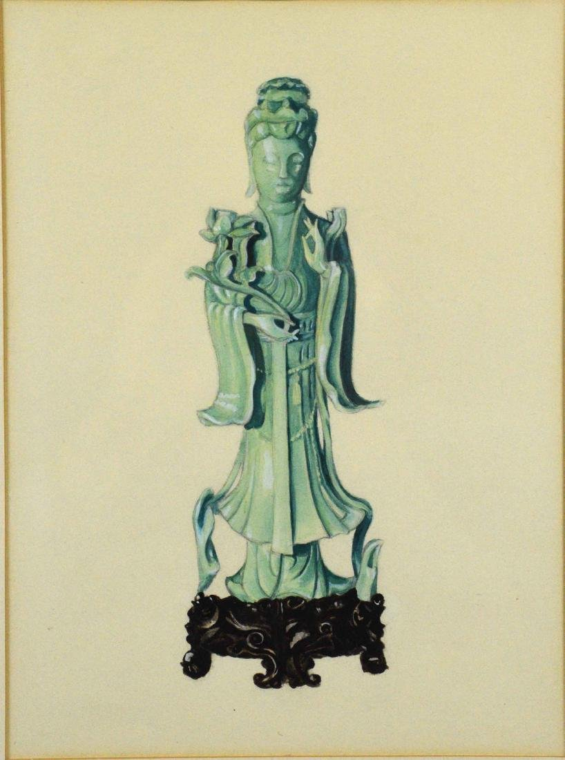 ARTIST UNKNOWN (20TH CENTURY). Buddah. Watercolor and