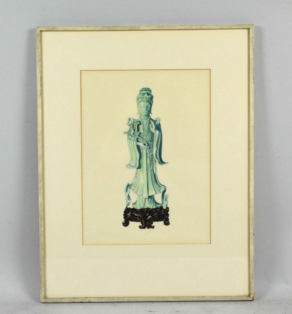 ARTIST UNKNOWN (20TH CENTURY). Buddah. Watercolor and - 2