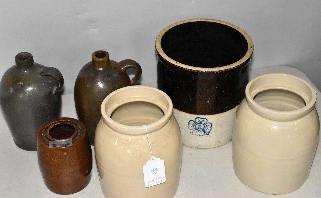 STONEWARE JUG AND CROCK COLLECTION. Six pieces.