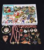 (50+) ASSORTED ENAMEL AND CLOISONNE COSTUME JEWELRY