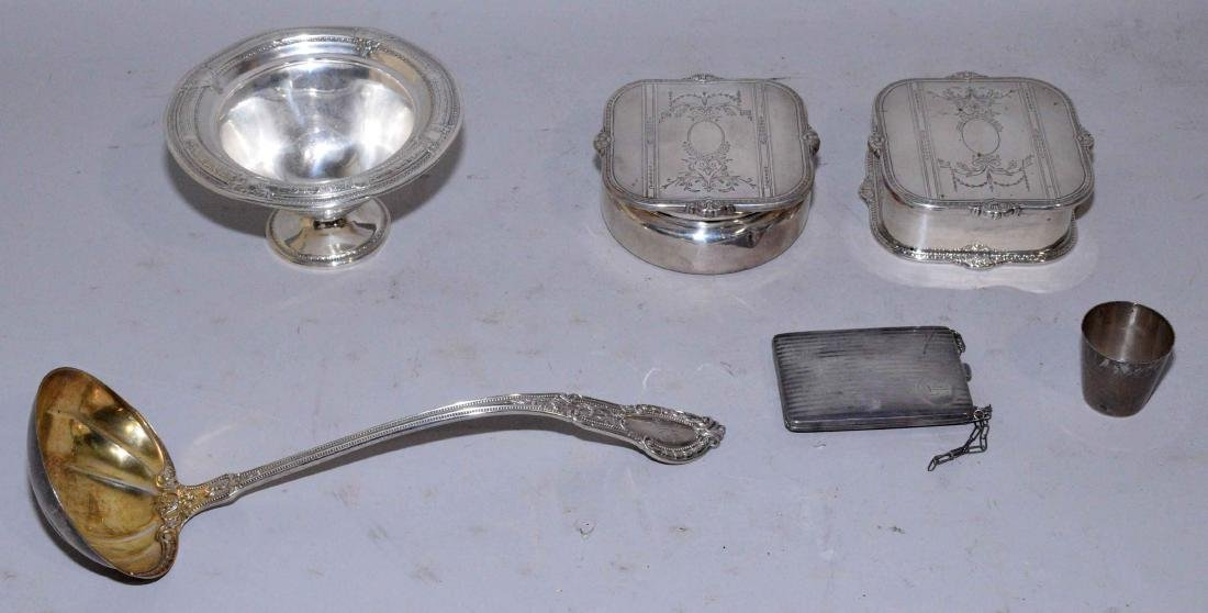 COLLECTION OF ASSORTED STERLING SILVER OBJECTS.
