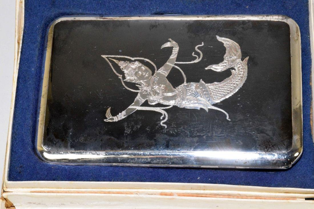 THREE THAI CIGARETTE BOXES. Sterling, beautifully - 2