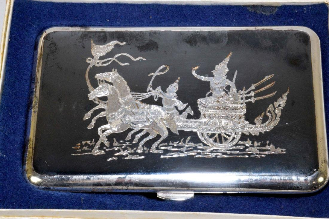 THREE THAI CIGARETTE BOXES. Sterling, beautifully - 4