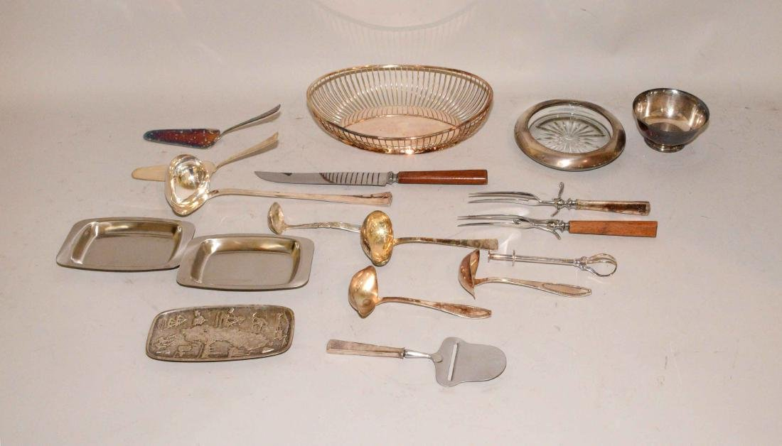 MISC. COLLECTION OF STERLING AND SILVERPLATE.