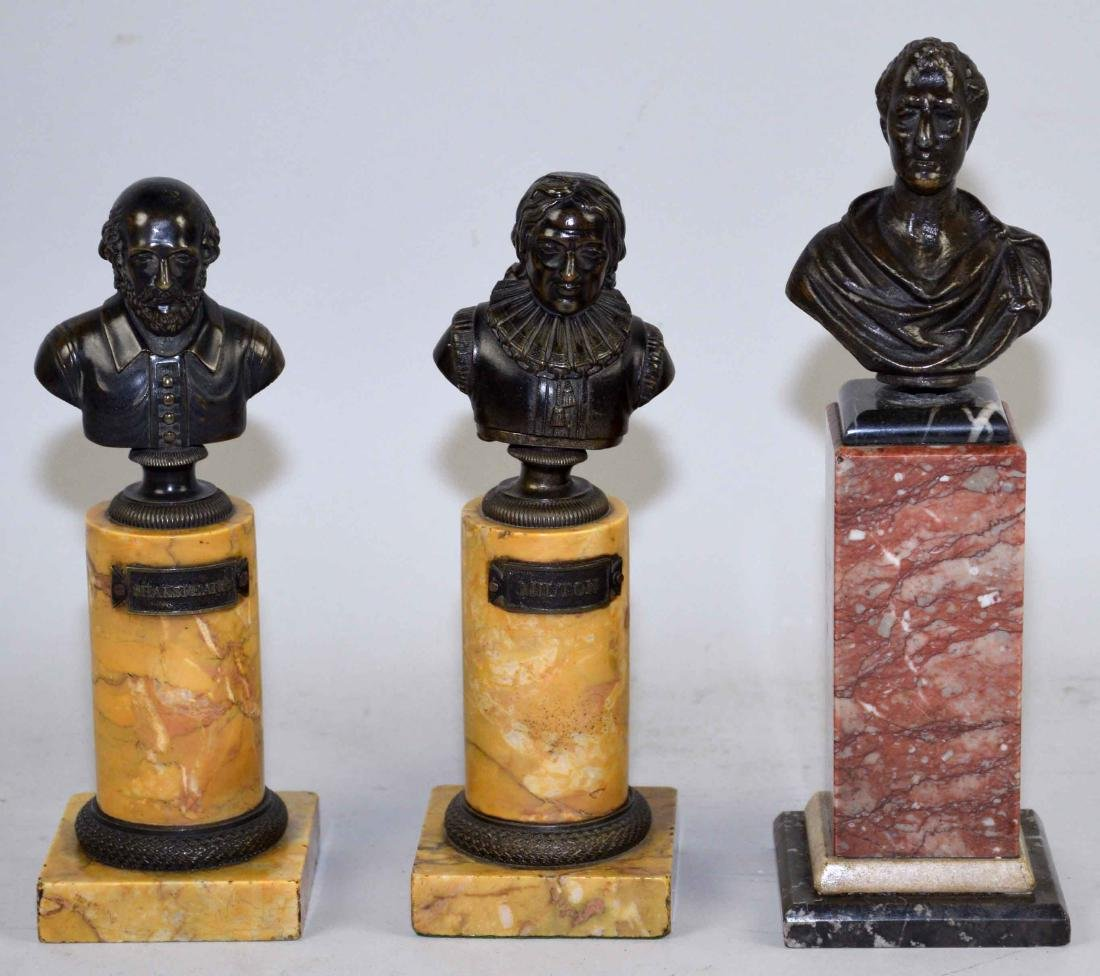 THREE MINIATURE BRONZE PORTRAITS BUSTS OF MEN IN