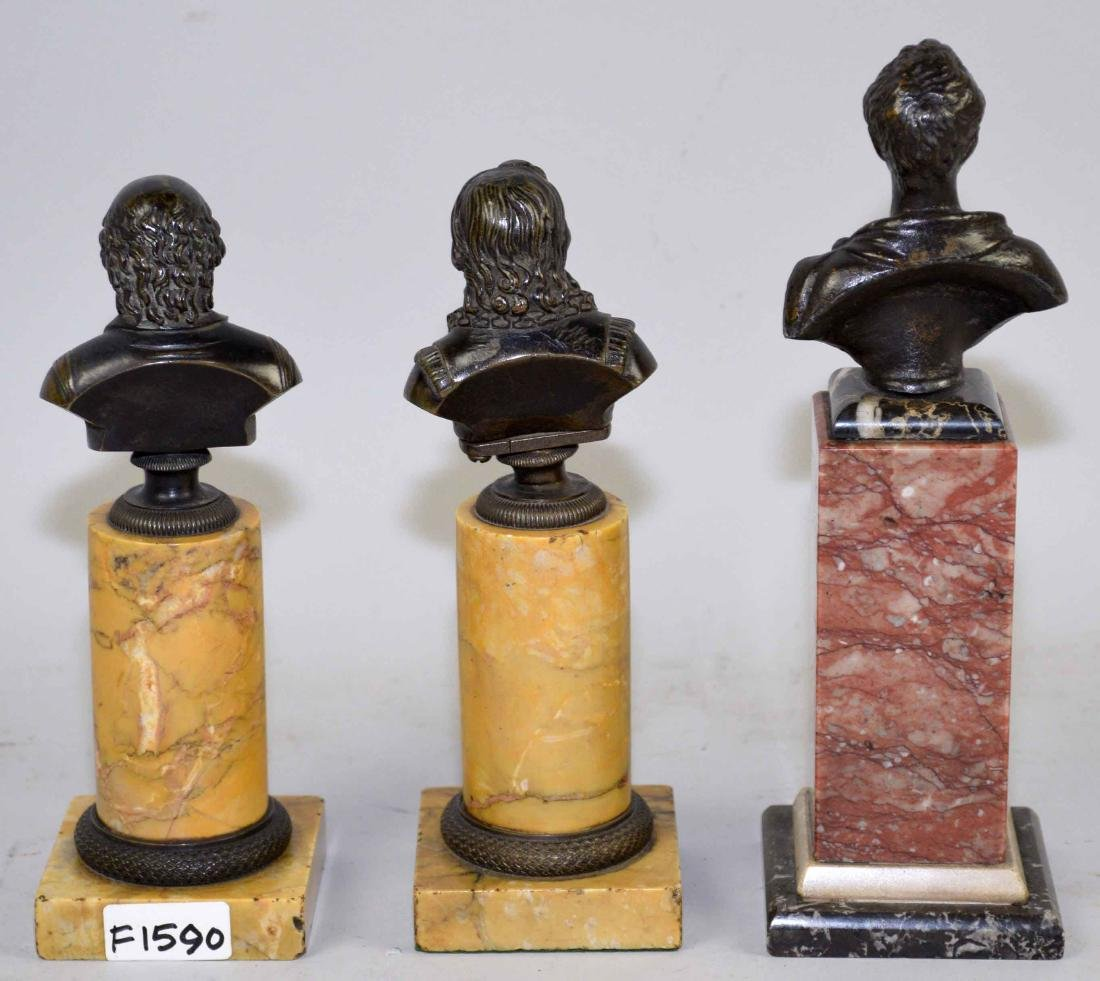 THREE MINIATURE BRONZE PORTRAITS BUSTS OF MEN IN - 4