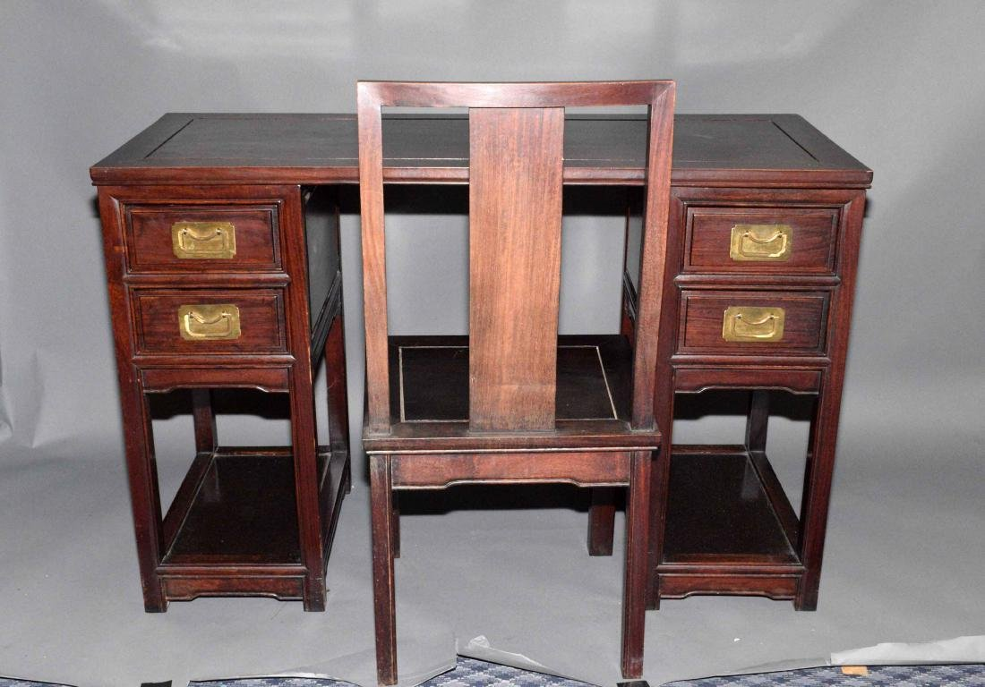 PETITE CHINESE WOOD DESK AND CHAIR. 30''H x 46''W x
