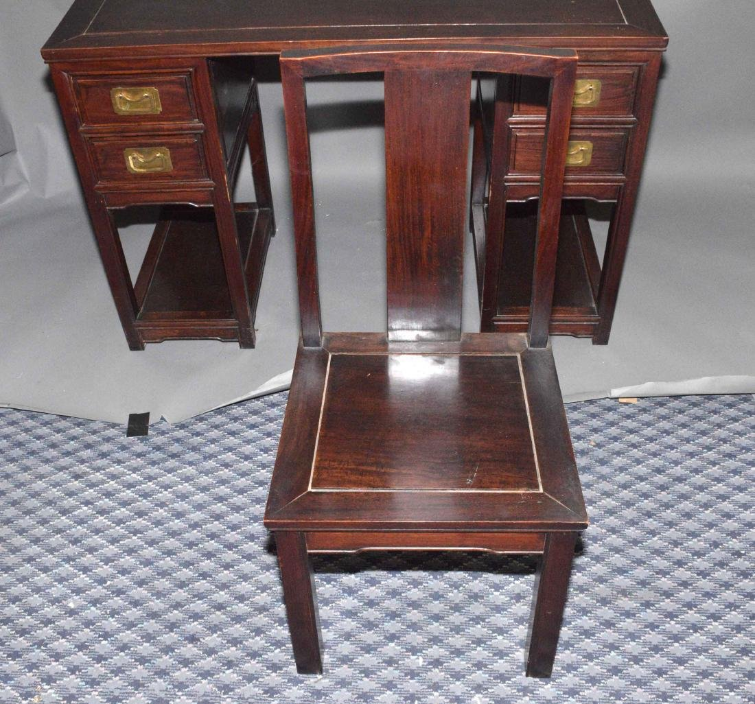PETITE CHINESE WOOD DESK AND CHAIR. 30''H x 46''W x - 3