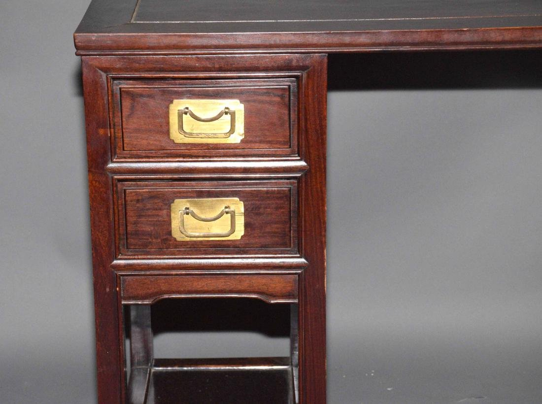 PETITE CHINESE WOOD DESK AND CHAIR. 30''H x 46''W x - 5
