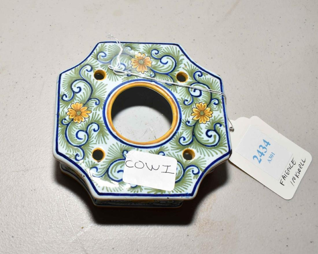 FRENCH FAIENCE INKWELL. Quatrefoil with polychrome