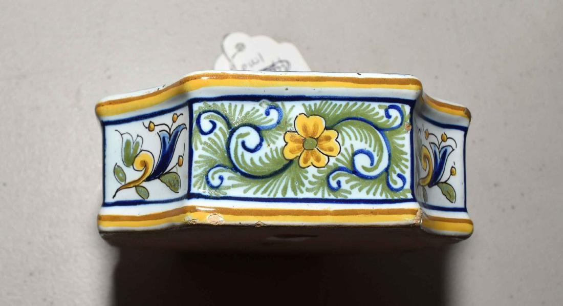 FRENCH FAIENCE INKWELL. Quatrefoil with polychrome - 2