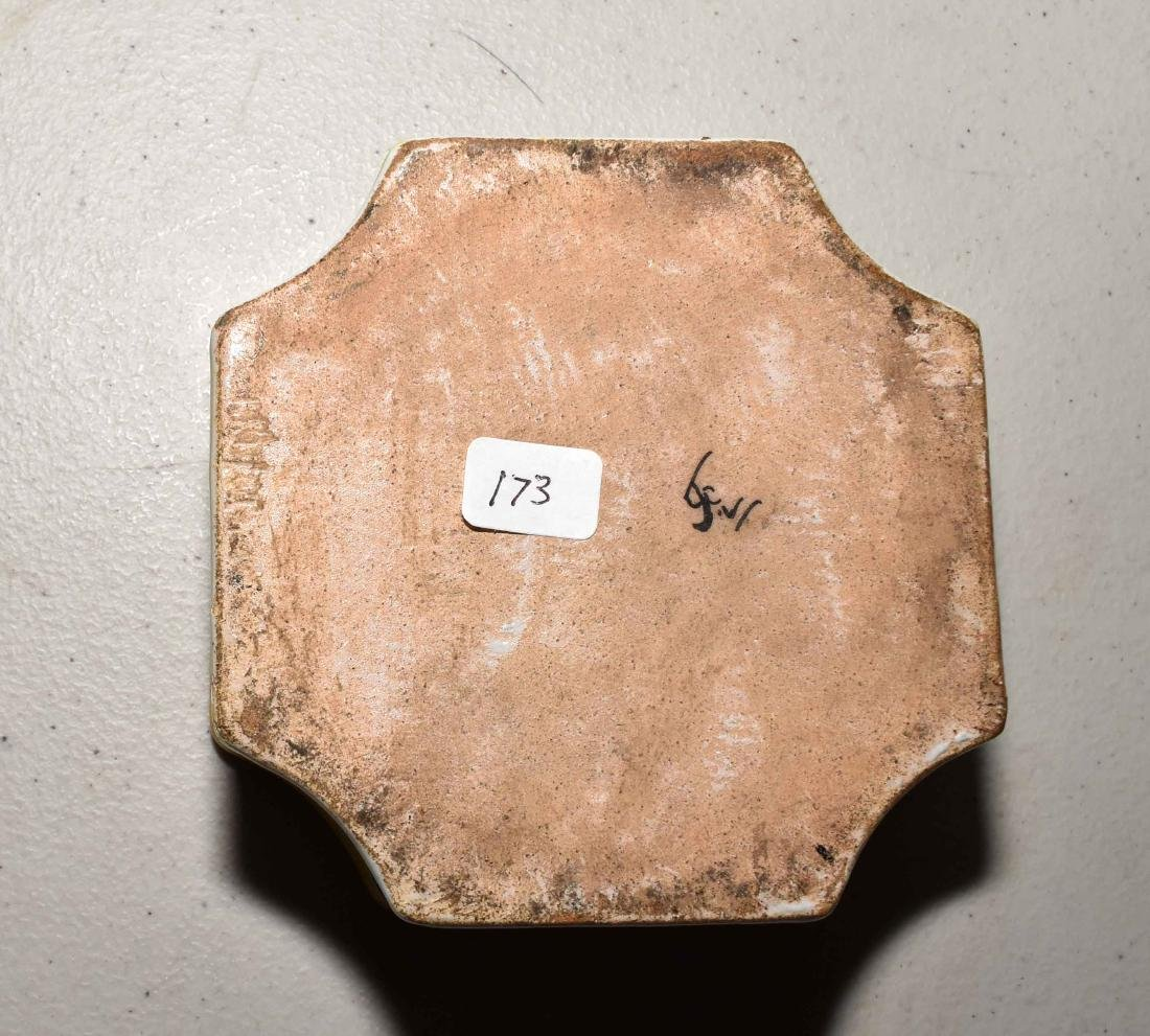 FRENCH FAIENCE INKWELL. Quatrefoil with polychrome - 3