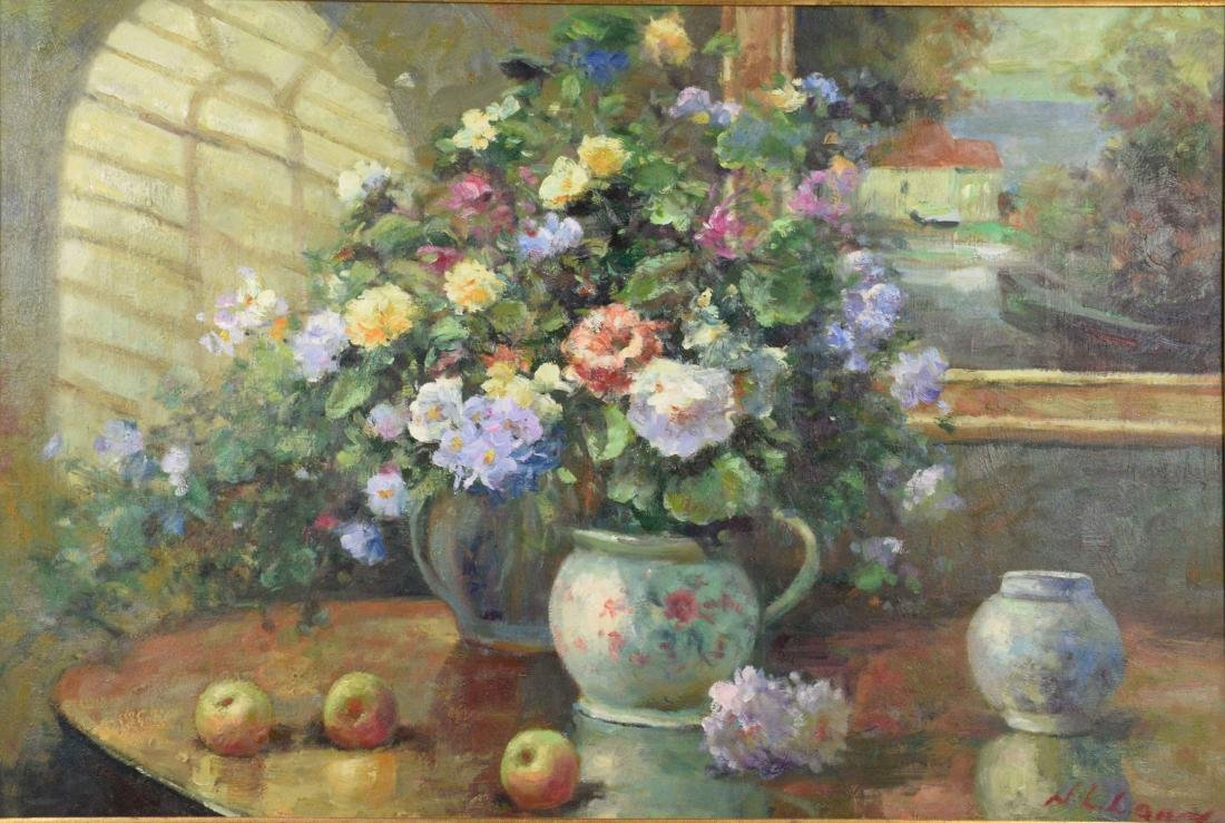 FLORAL STILL LIFE OIL ON CANVAS. Signed indistinctly,