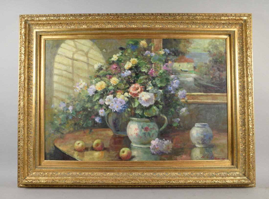 FLORAL STILL LIFE OIL ON CANVAS. Signed indistinctly, - 2