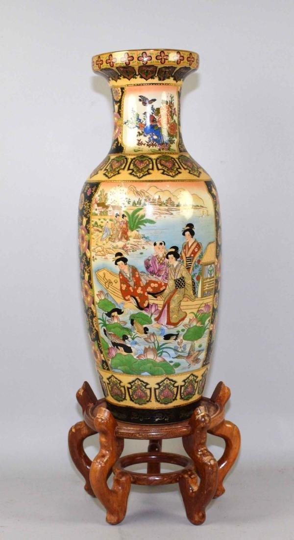 ROYAL SATSUMA VASE, handpainted on wooden stand. Vase