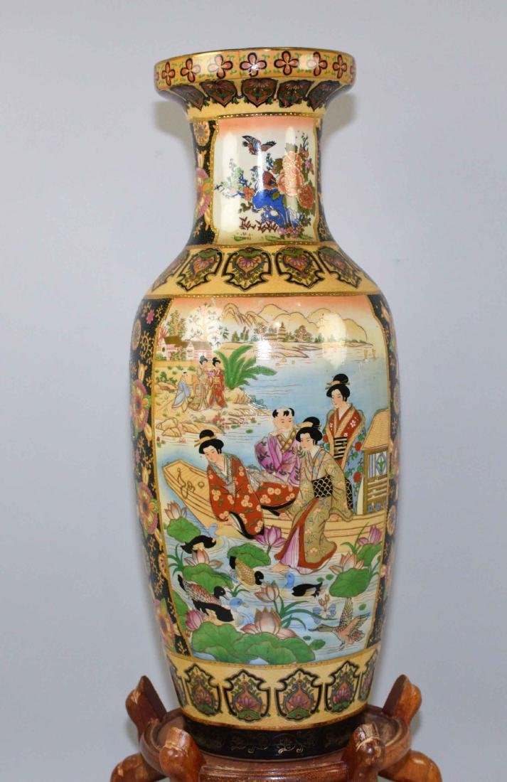 ROYAL SATSUMA VASE, handpainted on wooden stand. Vase - 2