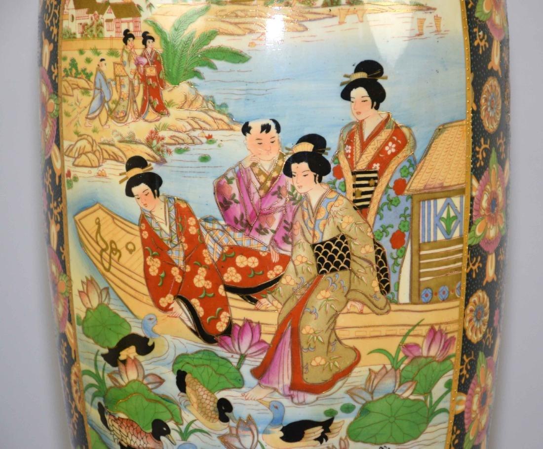 ROYAL SATSUMA VASE, handpainted on wooden stand. Vase - 5