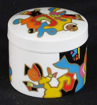 ROSENTHAL BOX. Contemporary colorful gilt decorat