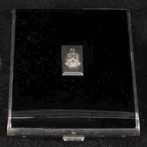 ART DECO CIGARETTE CASE. Black enamel and chrome