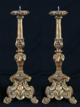 PR GILT GESSOED CANDLESTICKS. Pair Baroque style