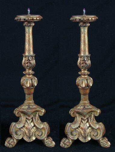 3007: PR GILT GESSOED CANDLESTICKS. Pair Baroque style