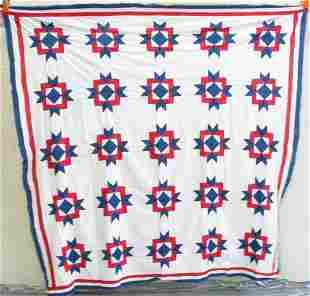 TWO QUILT TOPS. (1) Red white and blue floral dec