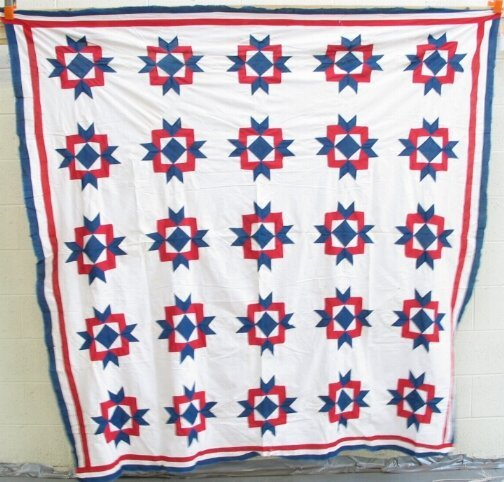 3010: TWO QUILT TOPS. (1) Red white and blue floral dec