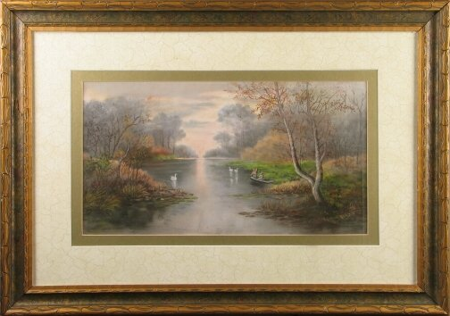 3013: SWANS ON A RIVER PASTEL.  Date unknown.  Pastel o