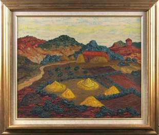GUILLERNES LANDSCAPE. 20th c. Oil on canvas. S