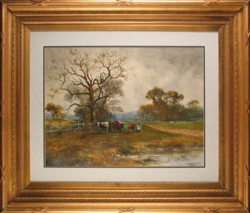 3016: HENRY CHARLES FOX COW PAINTING.  Dated 1916.  Wat
