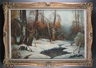 W. SCHATZ WINTER FOREST. 20th c. Oil on canvas.